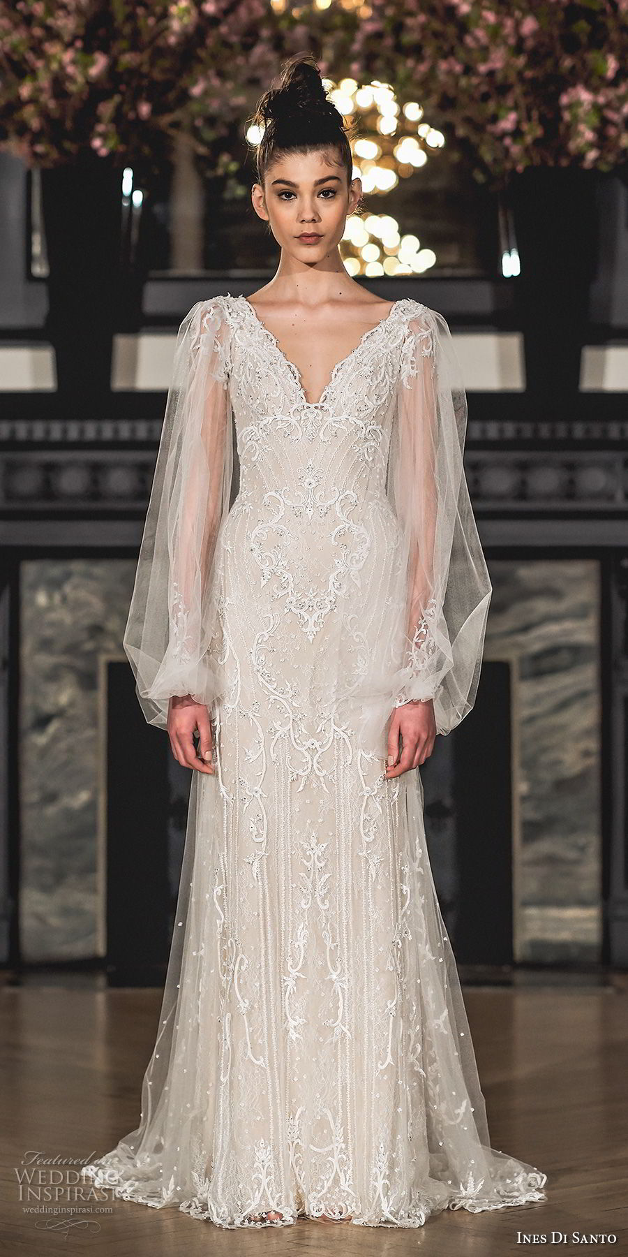 ines di santo spring 2019 bridal long bishop sleeves v neck full embellishment elegant bohemian modified a line wedding dress sweep train (6) mv