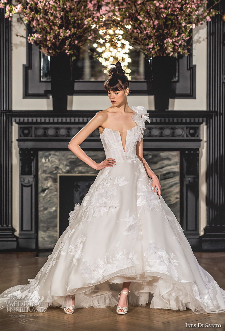 ines di santo spring 2019 bridal one shoulder deep plunging v neck full embellishment romantic high low a line wedding dress chapel train (7) mv