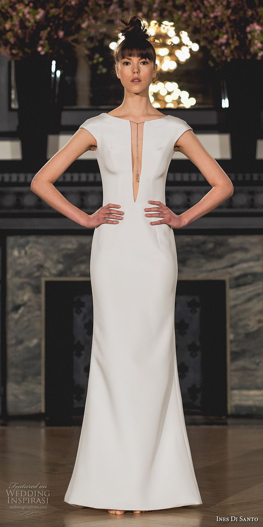 ines di santo spring 2019 bridal cap sleeves deep plunging v neck simple clean minimalist sheath wedding dress sweep train (18) mv