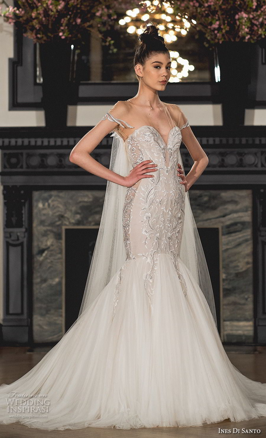 ines di santo spring 2019 bridal cap sleeves sheer v sweetheart neckline heavily embellished elegant glamorous mermaid wedding dress chapel train (19) mv