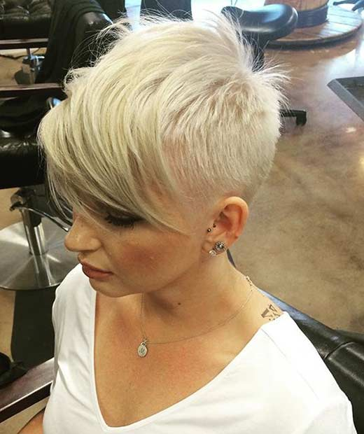 Shaved Blonde Pixie Cut with Long Bangs