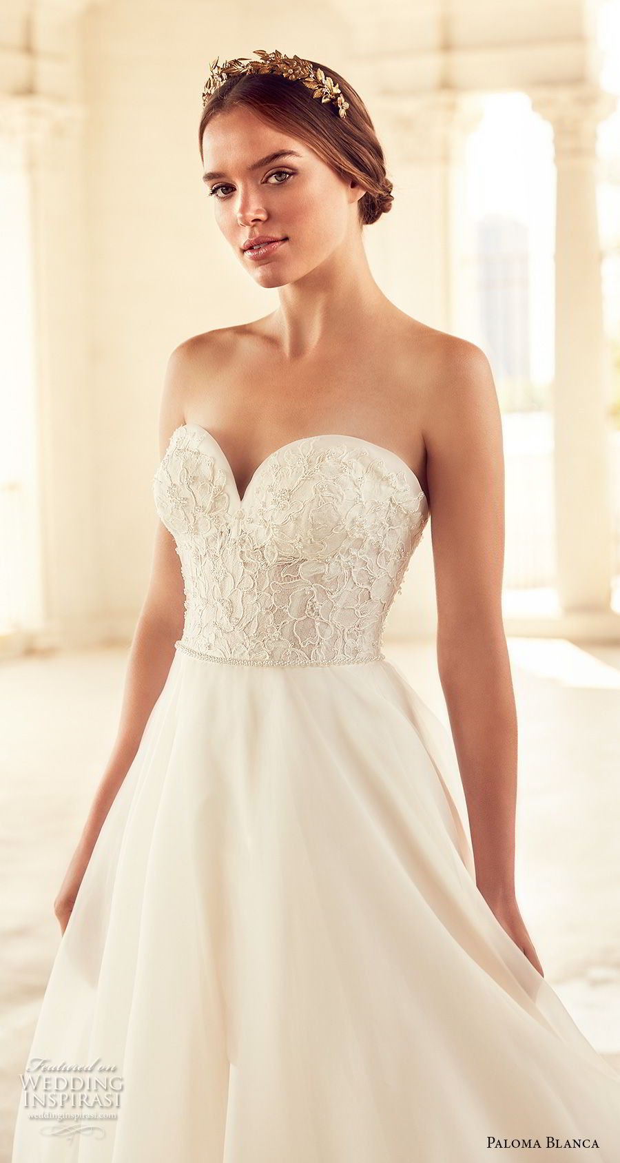 paloma blanca spring 2018 bridal strapless sweetheart neckline heavily embellished bodice princess ball gown a line wedding dress with pockets open back chapel train (4) zv