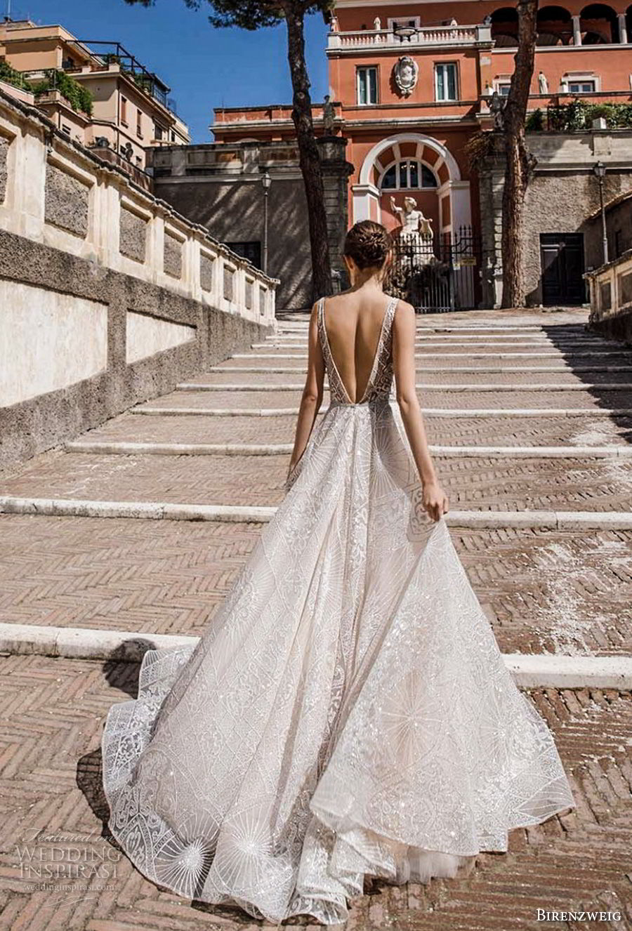 birenzweig 2018 bridal sleeveless illusion jewel v neck full embellishment romantic soft a line wedding dress chapel train (4) bv
