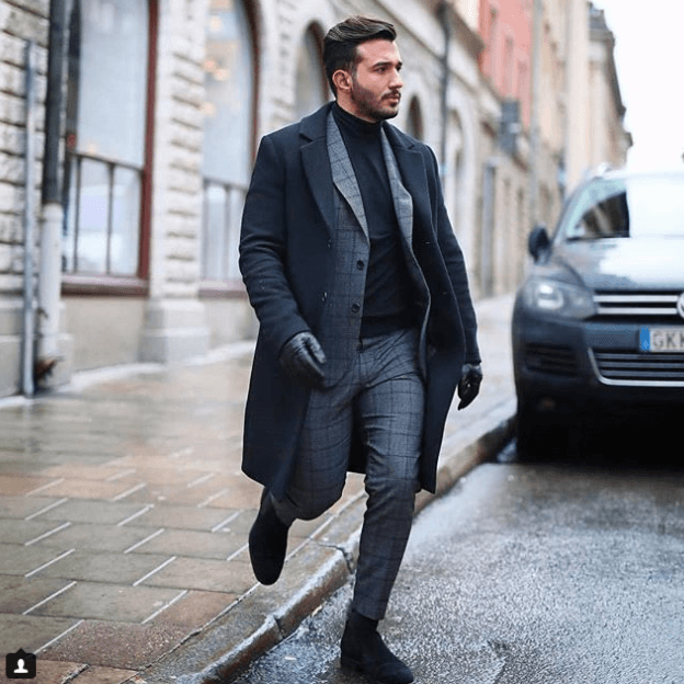 Turtle-Neck-Sweater-and-Black-Matte-Shoes 30 Best Charcoal Grey Suits with Black Shoes For Men