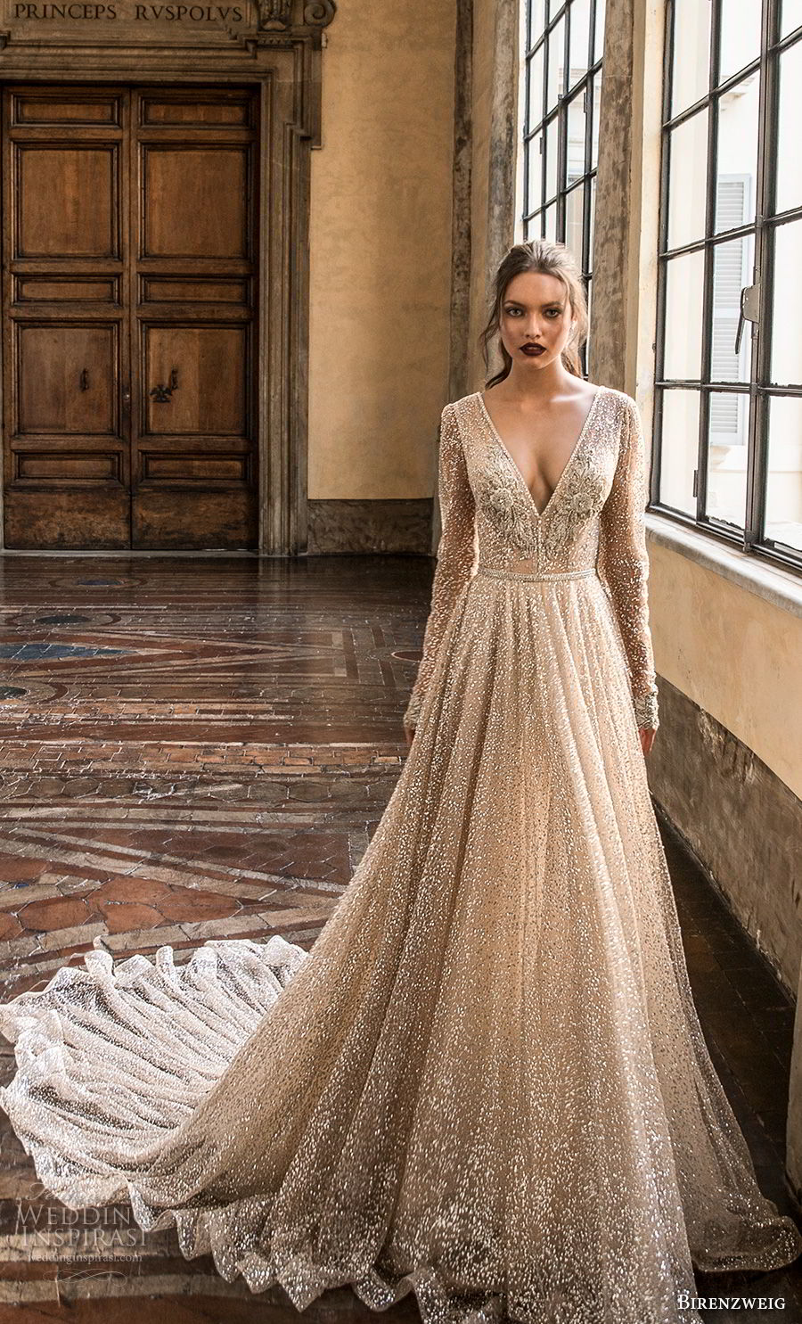 birenzweig 2018 bridal long sleeves deep v neck full embellishment sexy glamorous a line wedding dress open v back chapel train (5) mv