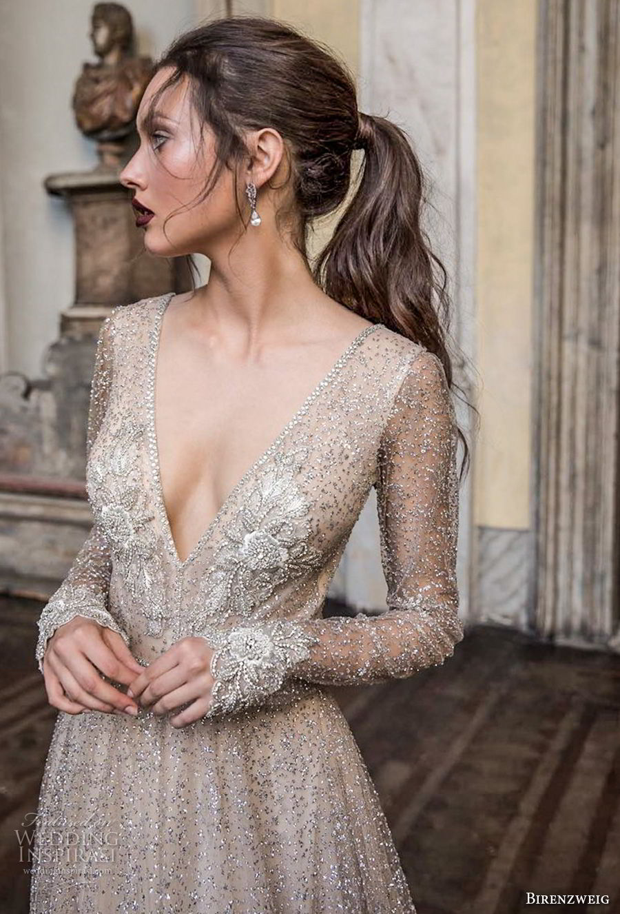 birenzweig 2018 bridal long sleeves deep v neck full embellishment sexy glamorous a line wedding dress open v back chapel train (5) zv