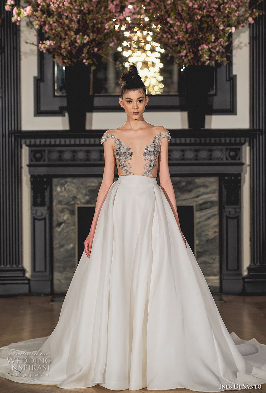 ines di santo spring 2019 bridal cap sleeves illusion jewel deep plunging v neck heavily embellished bodice glamorous a line wedding dress chapel train (14) mv