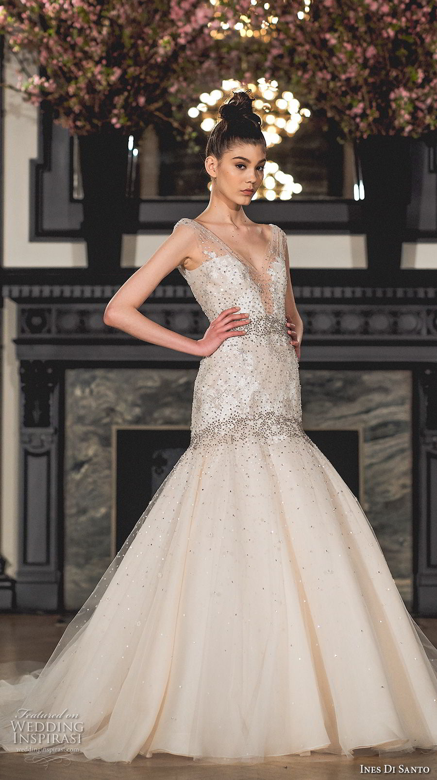 ines di santo spring 2019 bridal sleeveless sheer strap deep plunging sweetheart neckline heavily embellished bodice mermaid wedding dress chapel train (12) mv