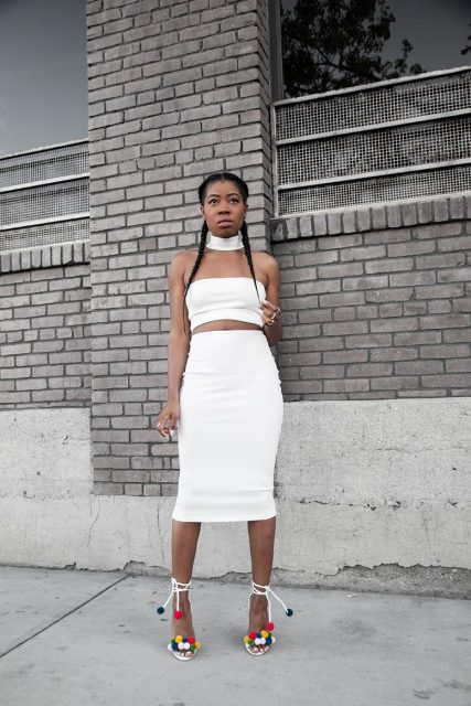 With white top and pencil midi skirt