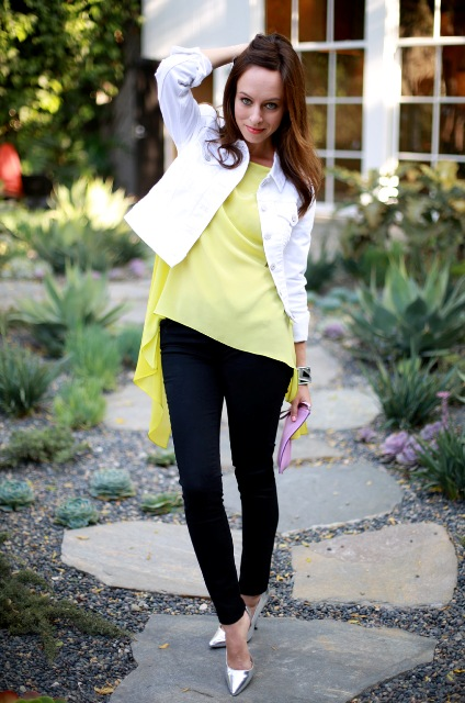 With black leggings, silver pumps and white jacket