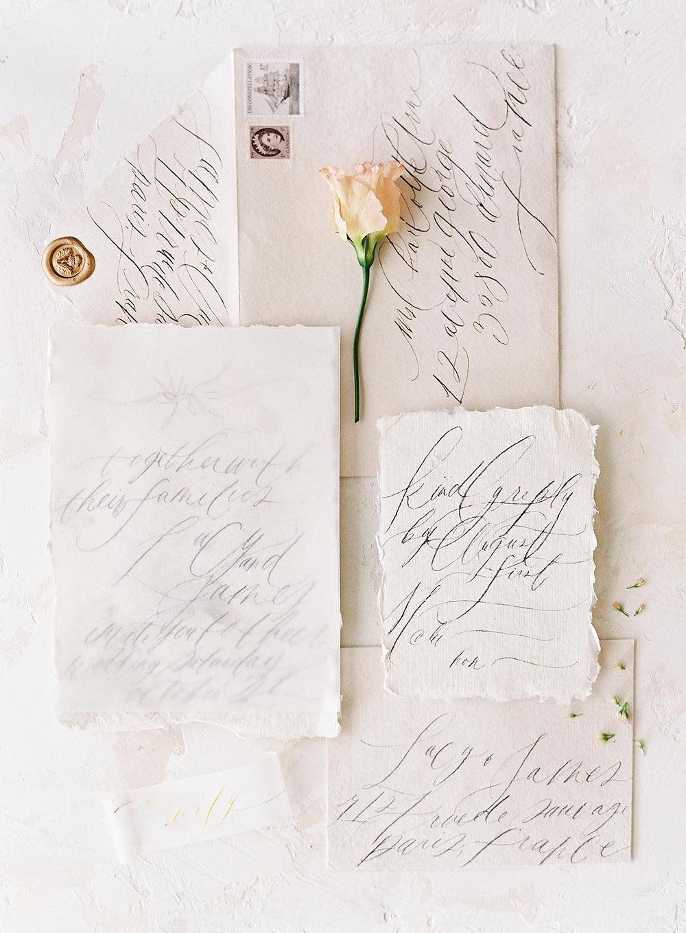 thin hand calligraphy wedding invitations