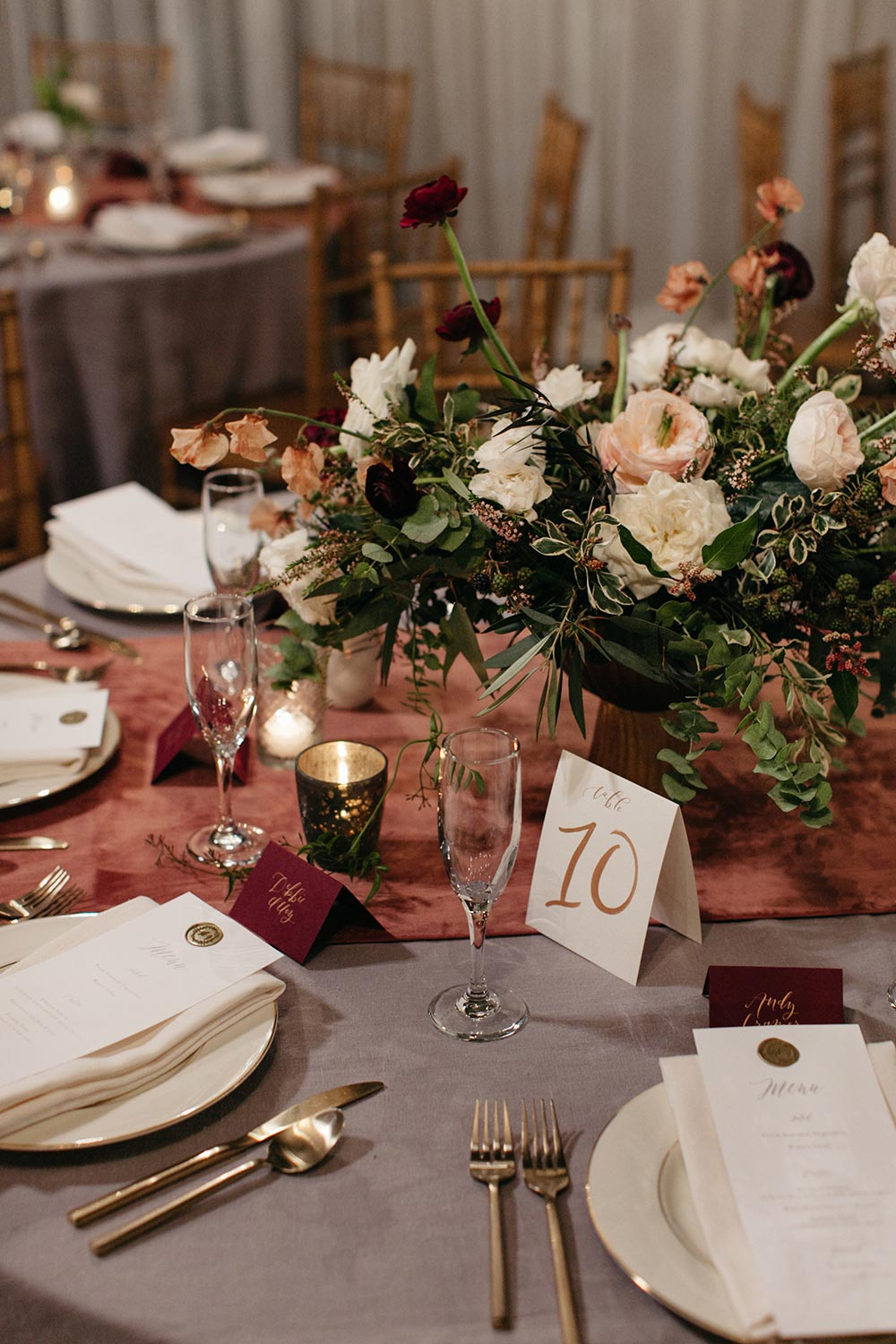 mauve and grey wedding tablescape