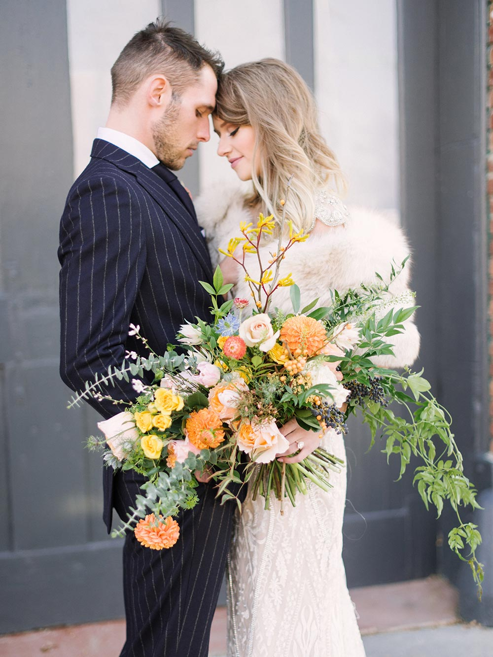 wild and overgrown citrus bridal bouquet