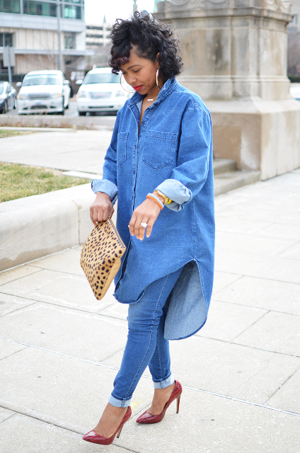 With jeans, red pumps and leopard clutch