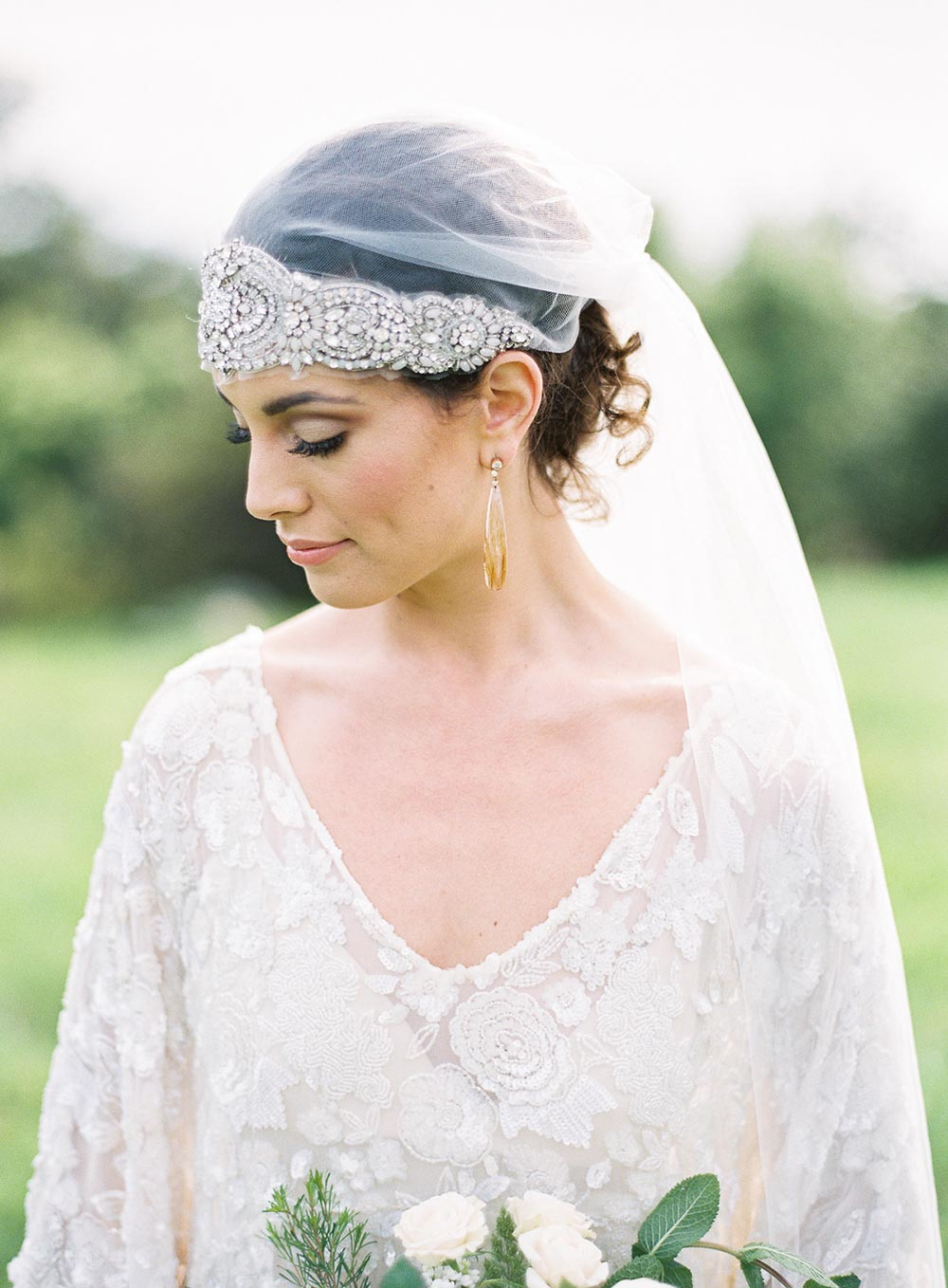 hand beaded caftan wedding dress with boho beaded veil