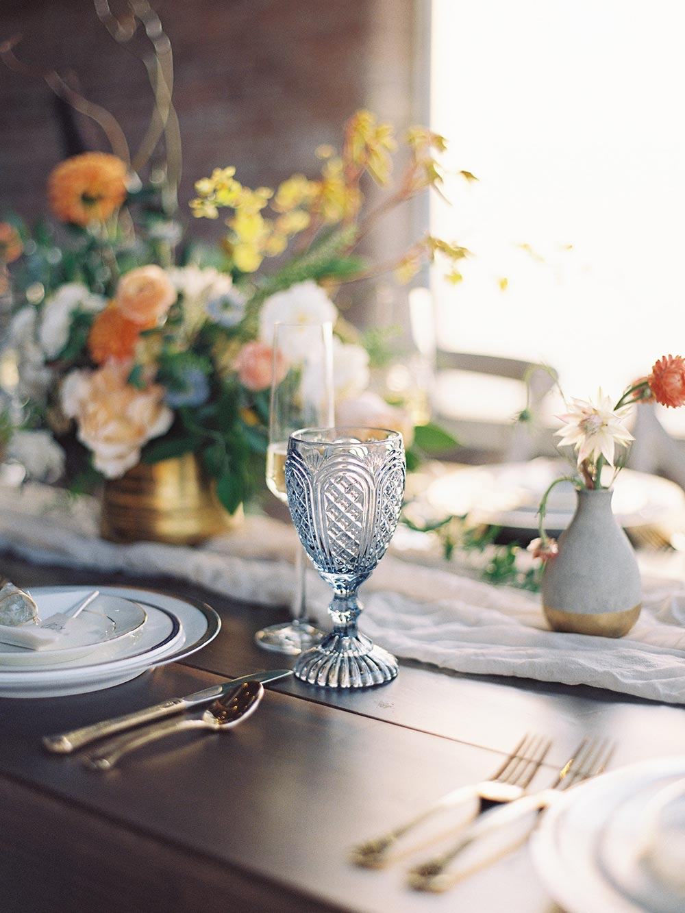 eclectic vintage tableware wedding reception