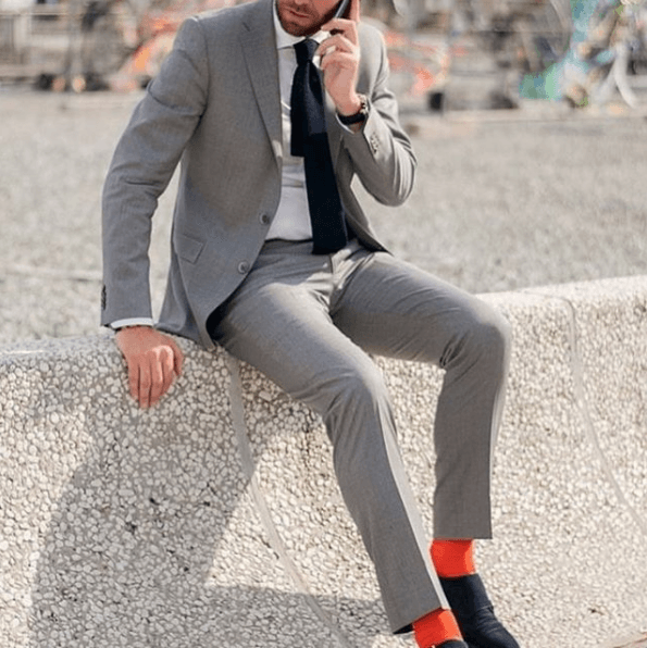 Colored-Socks-and-Black-Shoe-with-Charcoal-Suit 30 Best Charcoal Grey Suits with Black Shoes For Men