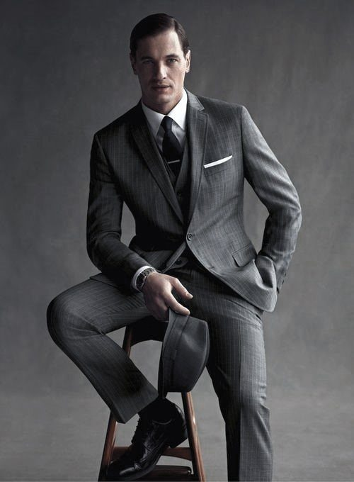 Charcoal-Striped-Suit-and-Black-Perforated-Shoes- 30 Best Charcoal Grey Suits with Black Shoes For Men