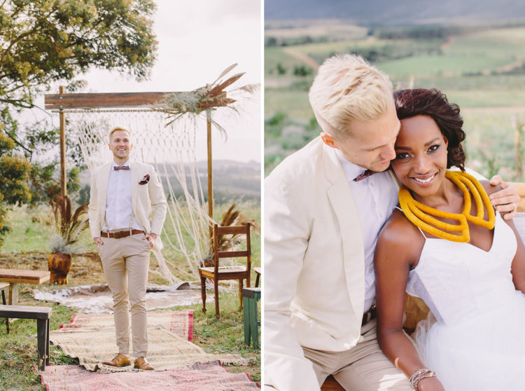 The groom was wearing a cream jacket, sand-colored pants, a bow tie and some leather accessories