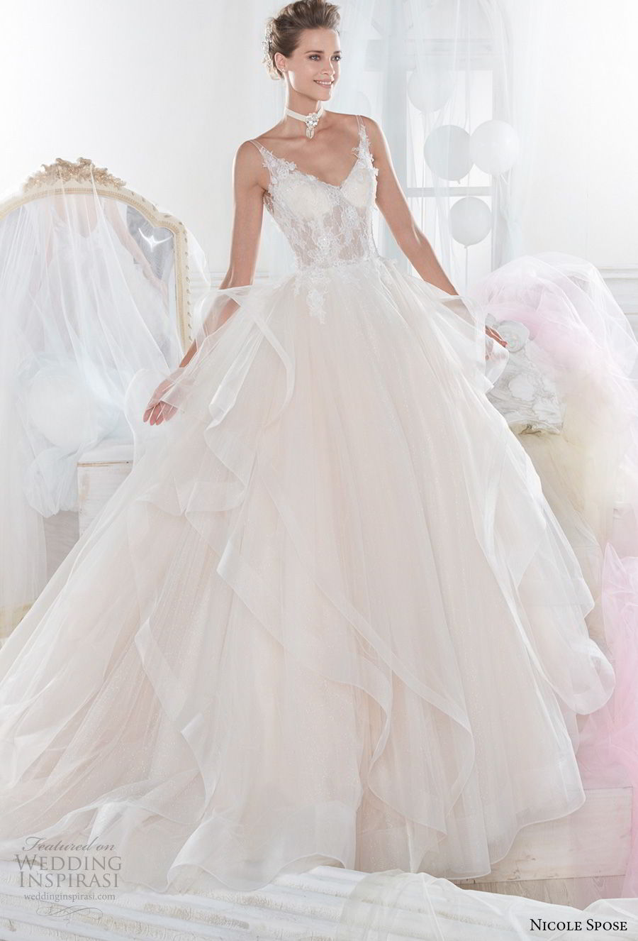 nicole spose 2018 bridal sleeveless thin strap v neck heavily embellished bodice bustier romantic blush ball gown wedding dress open back chapel train (17) mv