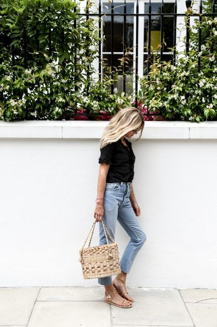 With black blouse, crop jeans and flat sandals