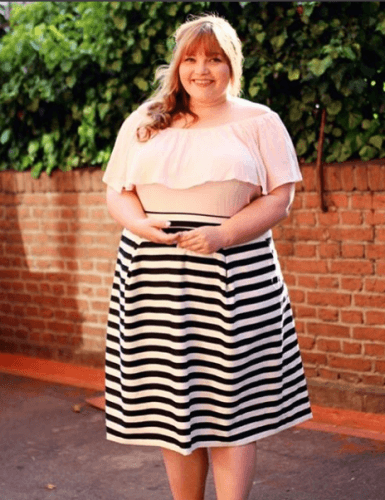 Off-shoulder-top-with-Midi-Skirt-385x500 23 Ways to Style Plus Size Off-the-Shoulder Tops for Women
