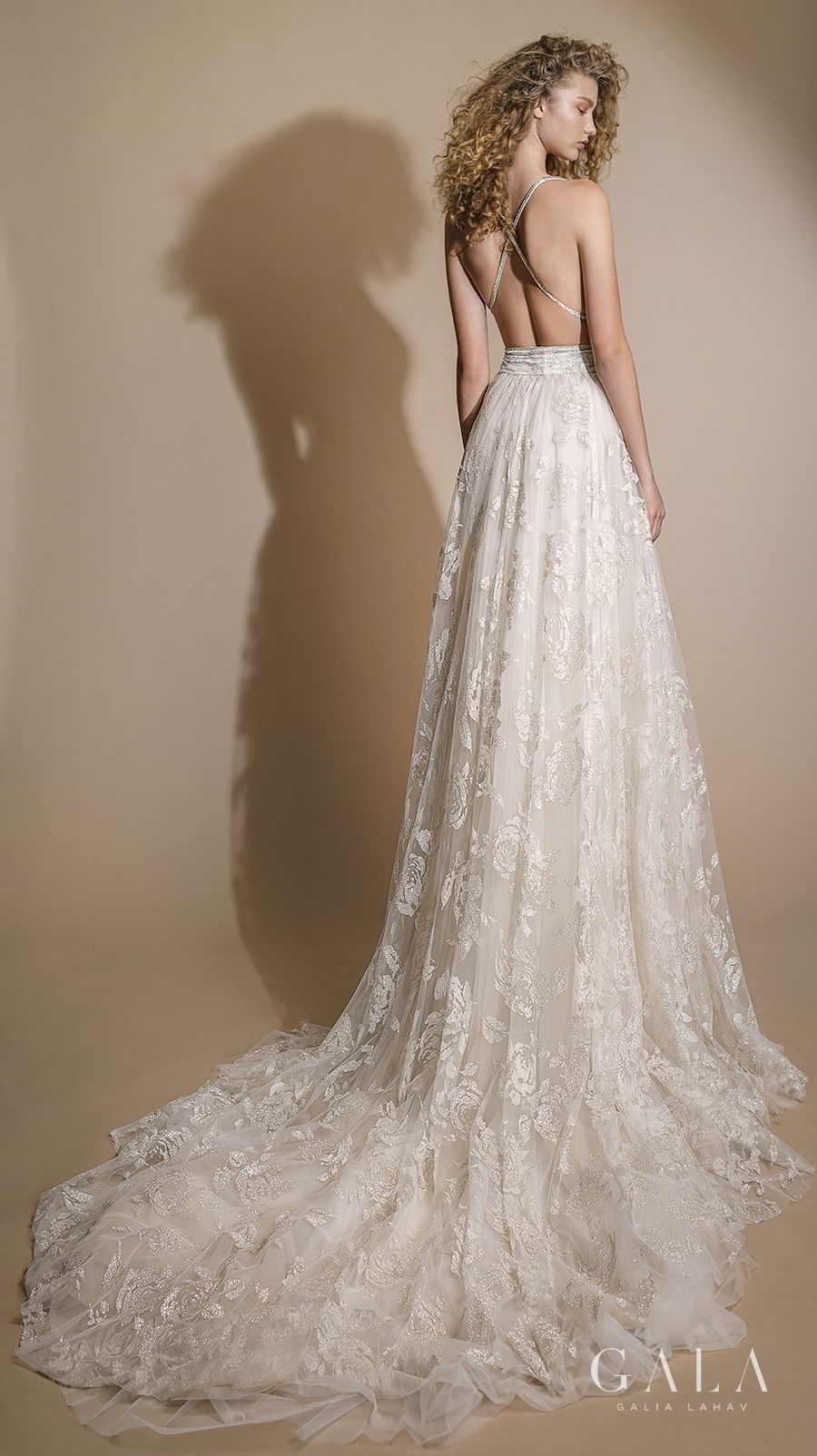 galia lahav gala 2019 bridal sleeveless with strap deep v neck full embellishment sexy elegant a line wedding dress cross strap back chapel train (106) bv