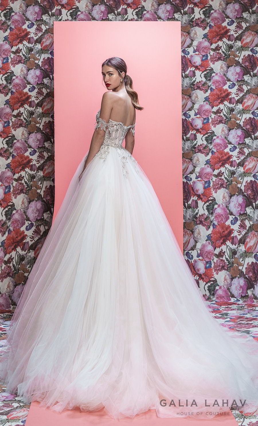 galia lahav spring 2019 bridal off the shoulder sweetheart neckline heavily embellised bodice princess romantic ball gown a line wedding dress chapel train (mia) bv