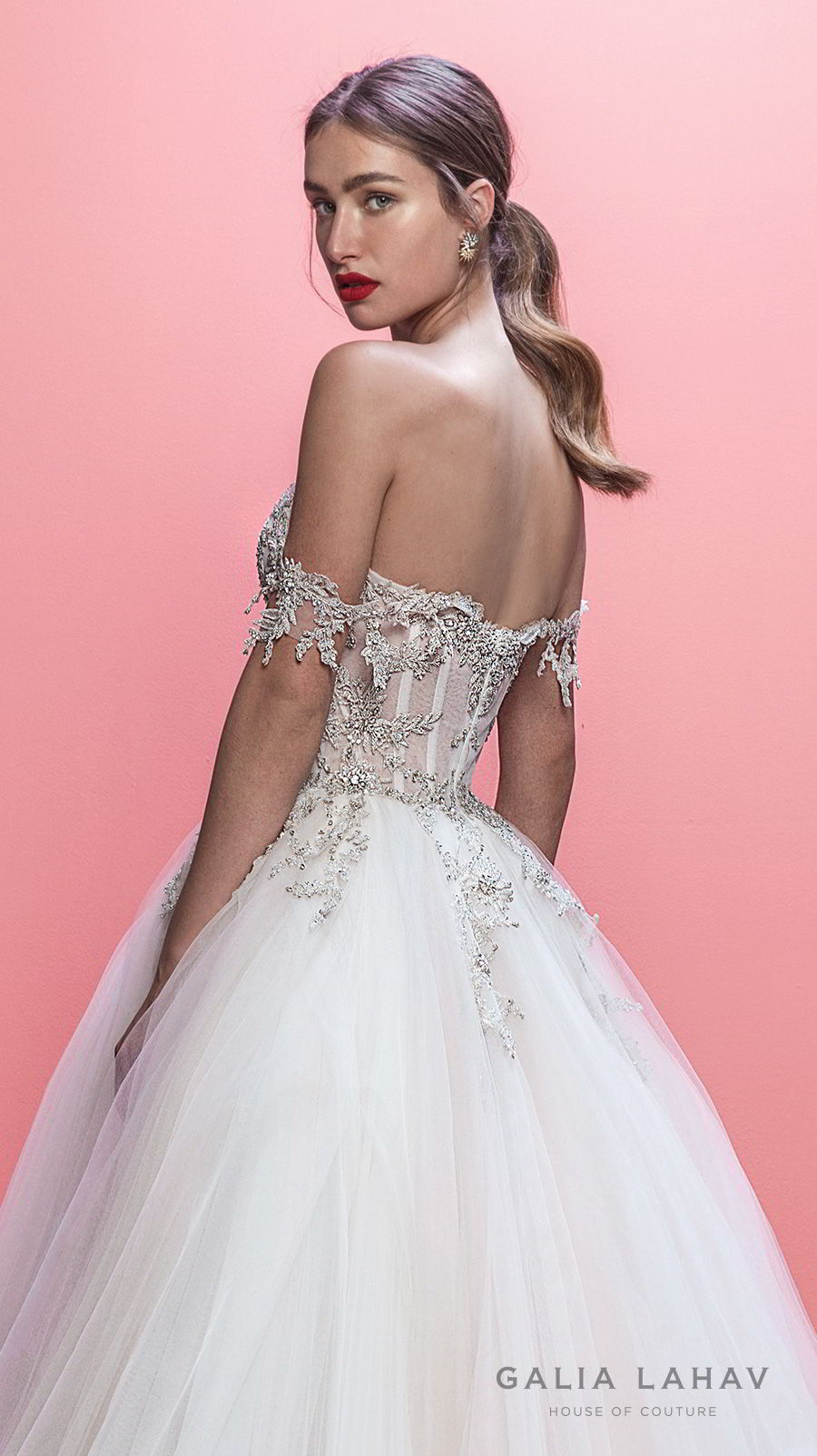 galia lahav spring 2019 bridal off the shoulder sweetheart neckline heavily embellised bodice princess romantic ball gown a line wedding dress chapel train (mia) zbv