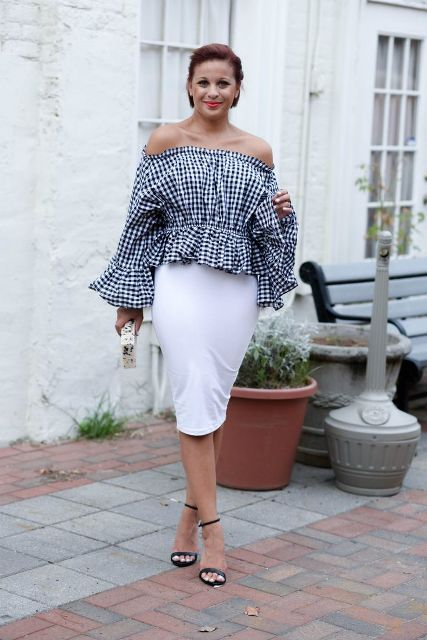 With white knee-length pencil skirt and black shoes