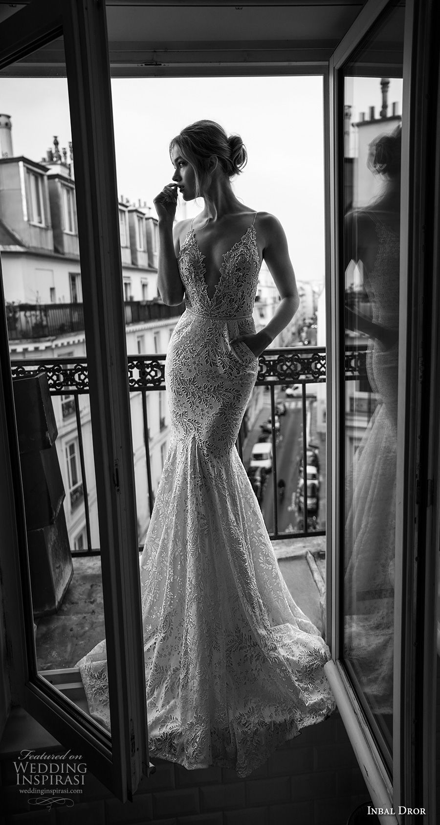 inba dror fall 2018 bridal sleeveless spaghetti strap deep v neck full embellishment elegant mermaid wedding dress with pockets open back sweep train (12) mv