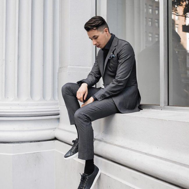 How-to-Wear-Charcoal-Suit-with-Sneakers 30 Best Charcoal Grey Suits with Black Shoes For Men