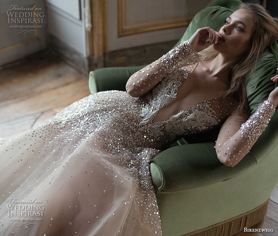 inba dror fall 2018 bridal long sleeves deep v neck heavily embellished bodice glamorous sexy nude color a line wedding dress sheer back chapel train (2) mv zv