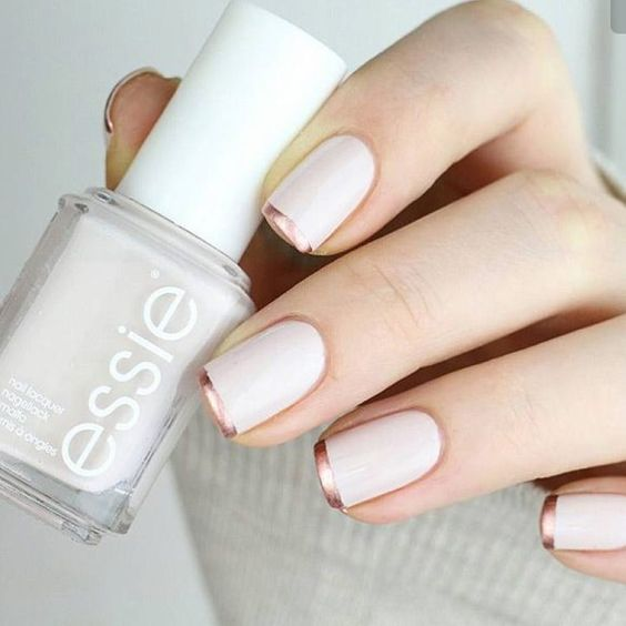white matte nails with copper tips is a fresh take on French manicure