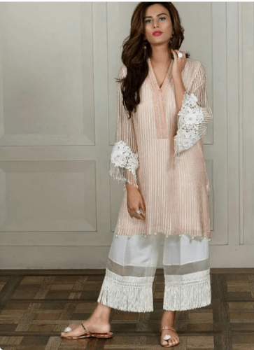 Kurta-pajama-with-tassels-363x500 25 Best Women Kurta Pajama for Wedding Styles 2018