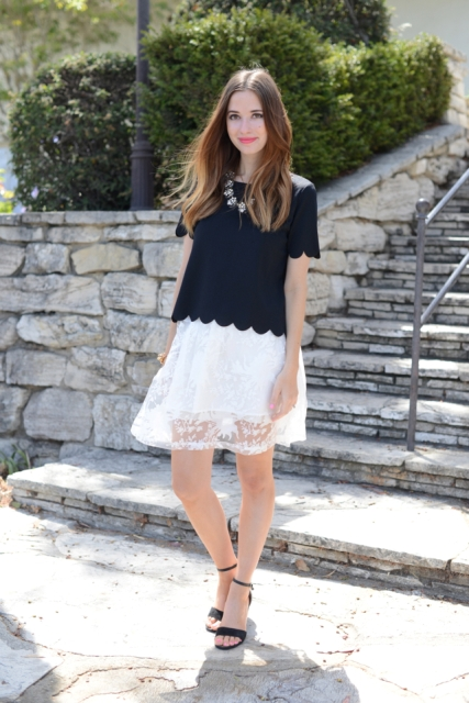With lace skirt and black sandals