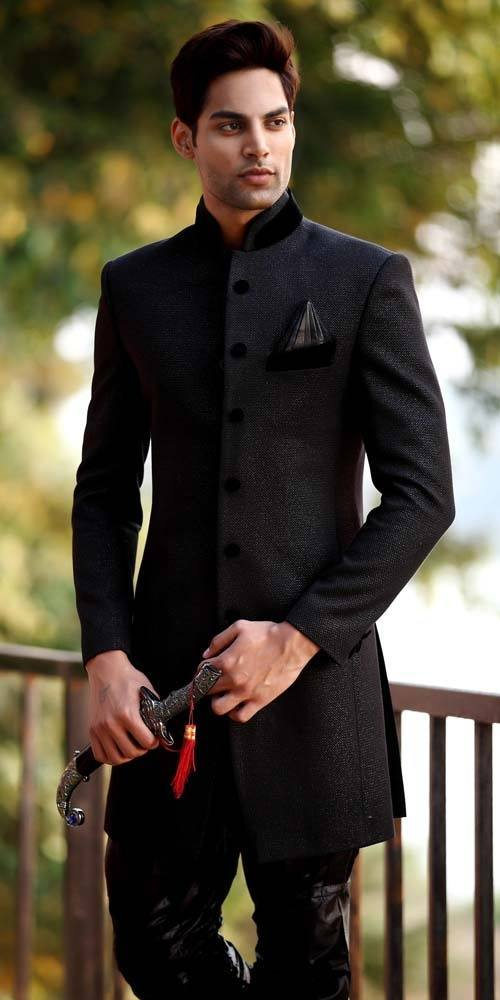 black-sherwani-for-men 20 Latest Style Wedding Sherwani For Men and Styling Ideas
