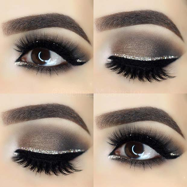 Smokey Eye with Silver Glitter Liner