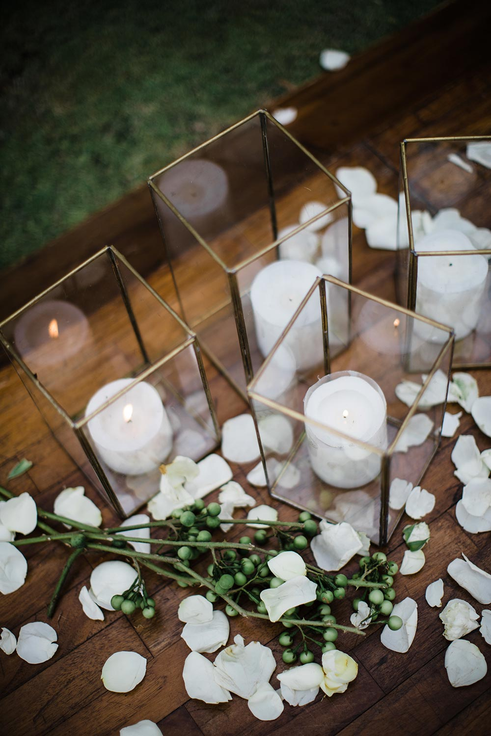 glass and gold wedding candle holders