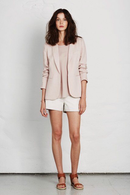 With pale pink shirt, pale pink blazer and white shorts