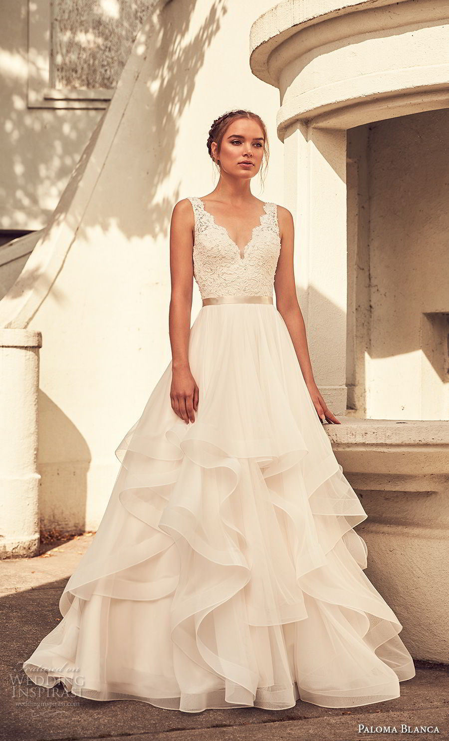 paloma blanca spring 2018 bridal sleeveless with strap scallop v neck heavily embellished bodice layered skirt romantic a line wedding dress v back sweep train (7) mv