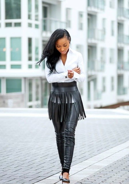 With white shirt, black leather pants and pumps