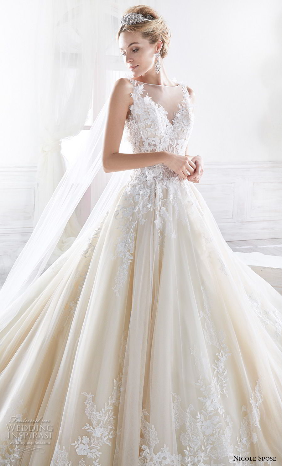 nicole spose 2018 bridal sleeveless illusion bateau v neck heavily embellished bodice princess champagne a line wedding dress sheer button back royal train (5) zv