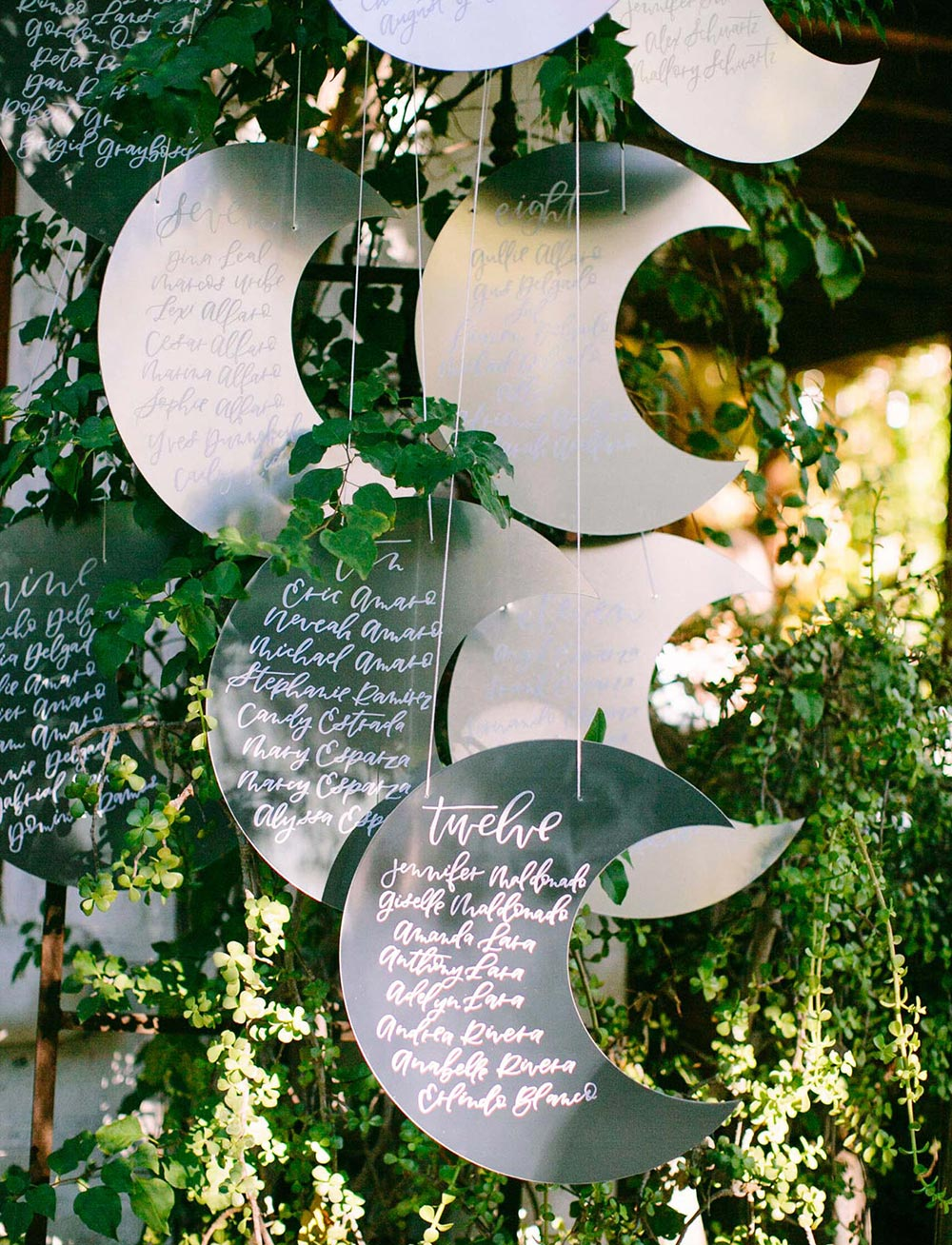celestial wedding seating chart crescent moons