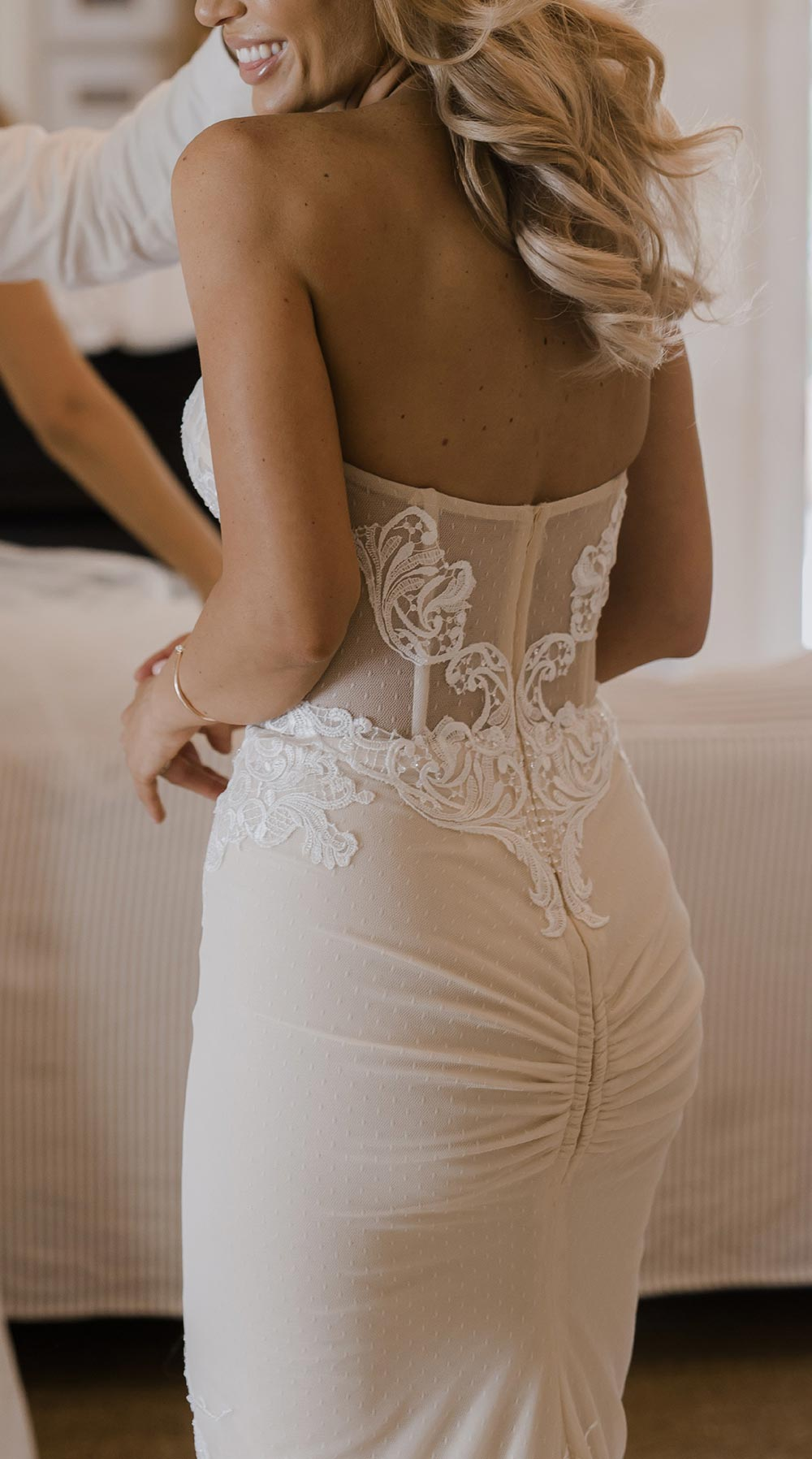 ribbed wedding dress with embroidery