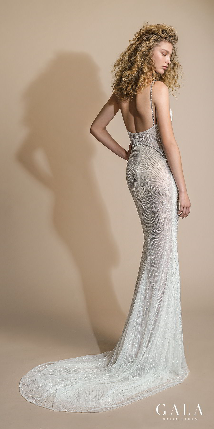 galia lahav gala 2019 bridal sleeveless halter jewel neck full embellishment glamorous art deco sheath wedding dress open back sweep train (110) bv