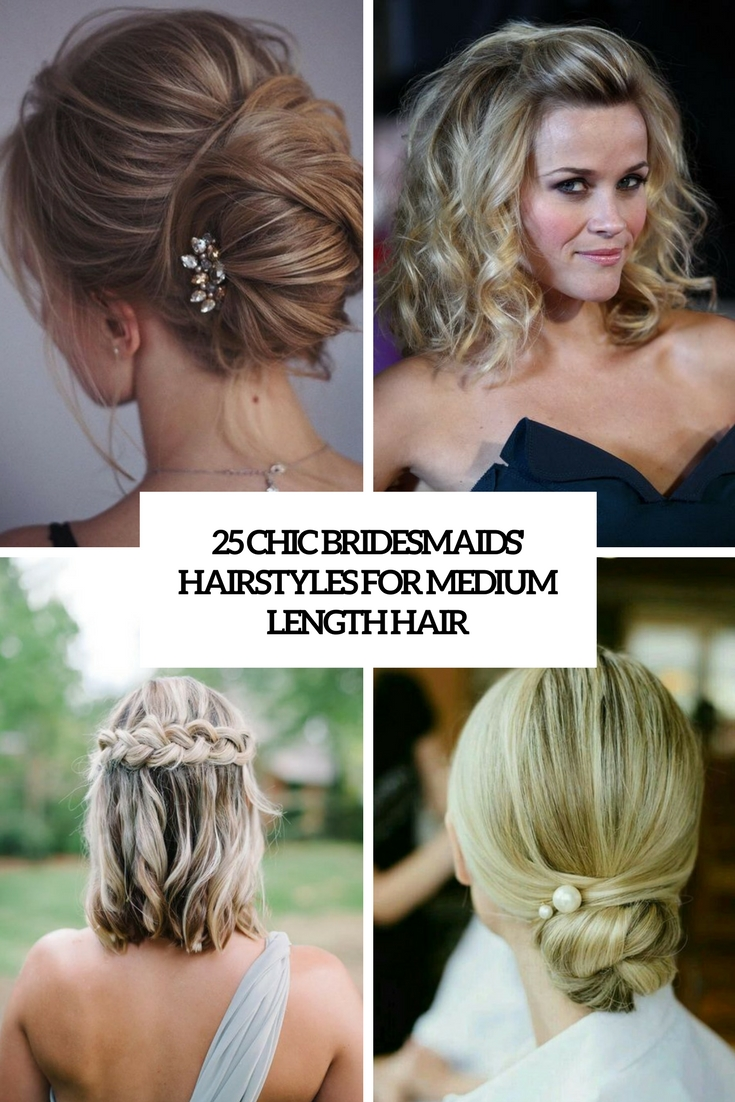 chic bridesmaids' hairstyles for medium length hair cover