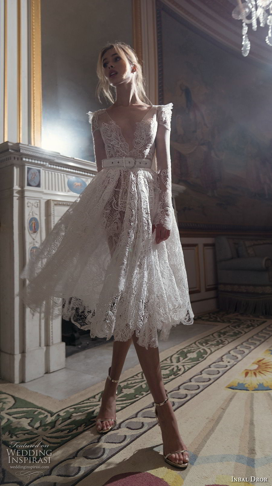 inba dror fall 2018 bridal long sleeves deep v neck full embellishment romantic tea length short wedding dress open v back (5) mv