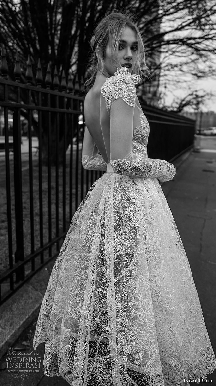 inba dror fall 2018 bridal long sleeves deep v neck full embellishment romantic tea length short wedding dress open v back (5) zbv