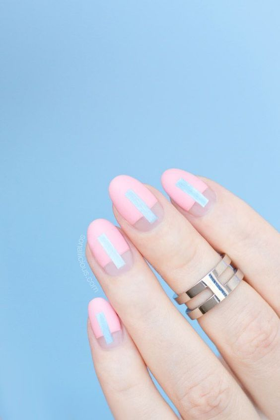 pink and mint geometric nails with negative space for a mid-century modern or modern bride